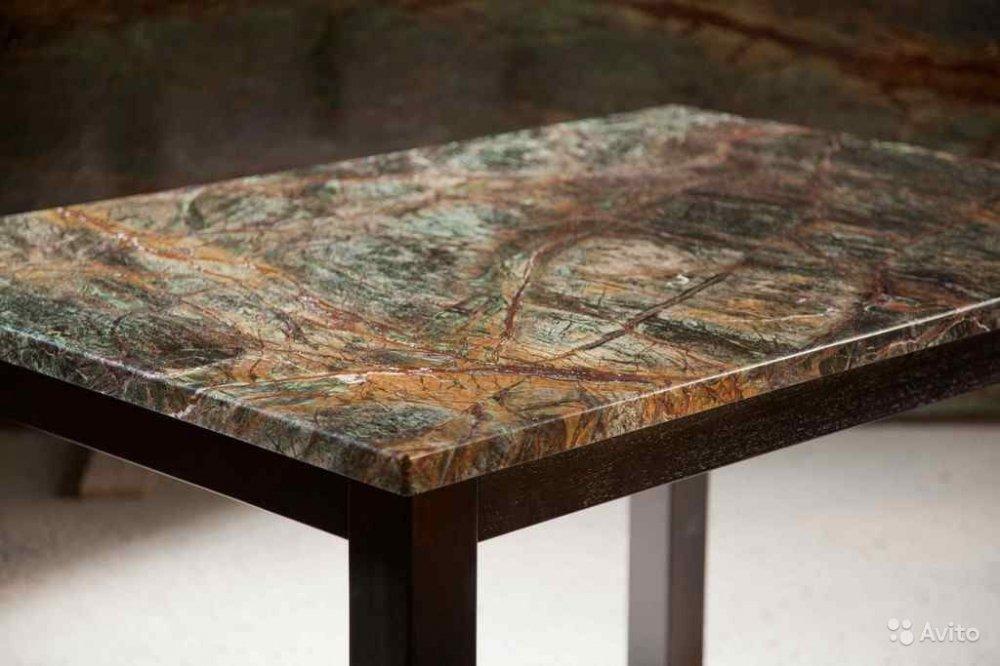 Стол из мрамора Бидасар Браун ,Грин,Голд разной конфигурации - Столы из камня